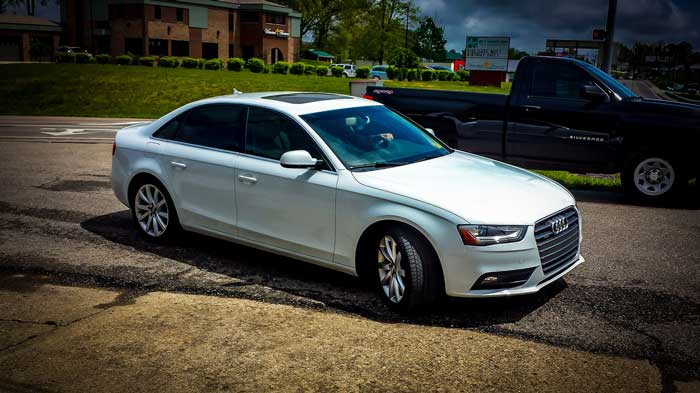 white audi window tint
